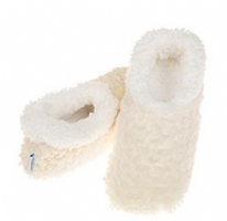 Cream Ladies Rose Textured Fur-Like Snoozies Slippers